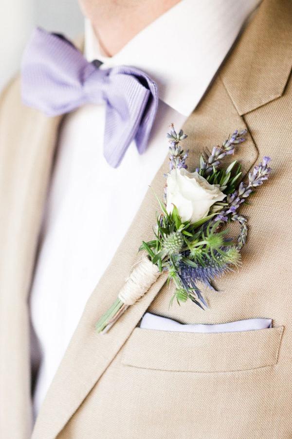 bottoniera sposo matrimonio lavanda
