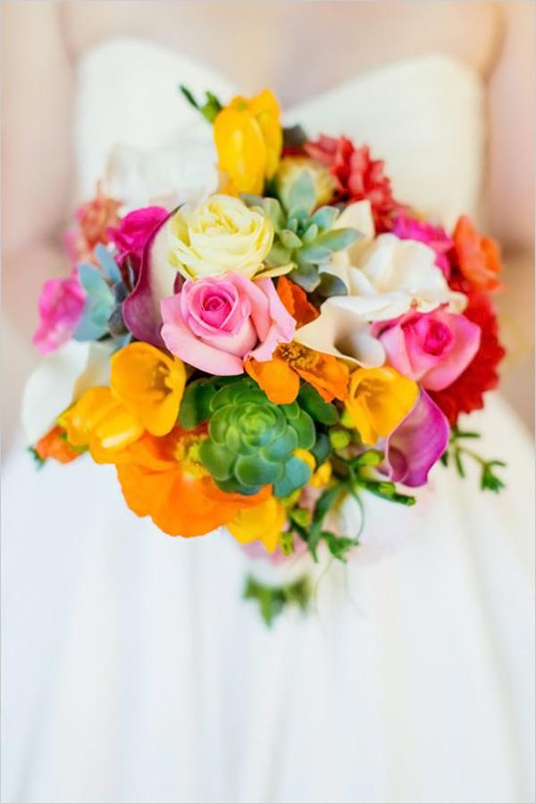 Bouquet colorato il bouquet da sposa perfetto per un for Bouquet de fleurs orange et jaune