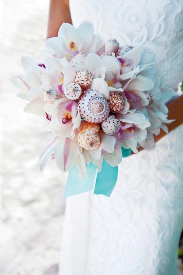 bouquet orchidee e conchiglie