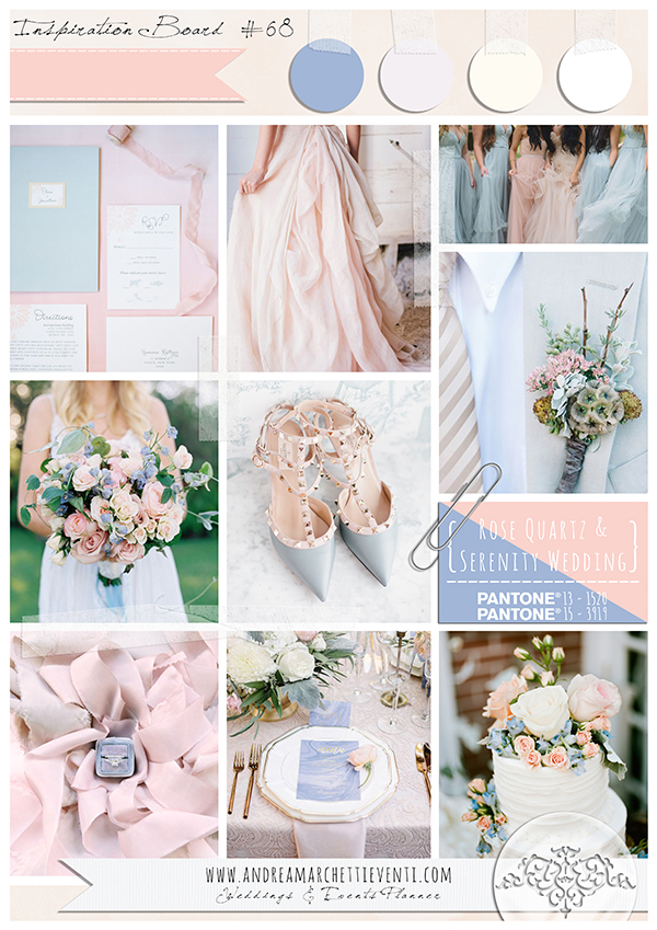 Inspiration Board Rose Quartz and Serenity Wedding