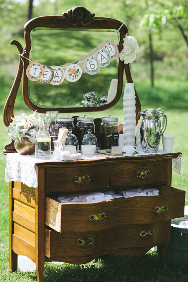 tea bar matrimonio vintage